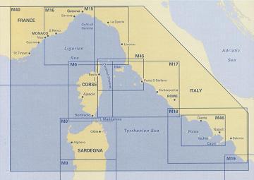 Ligurian and Tyrrhenian Seas. Carta Náutica Imray M40